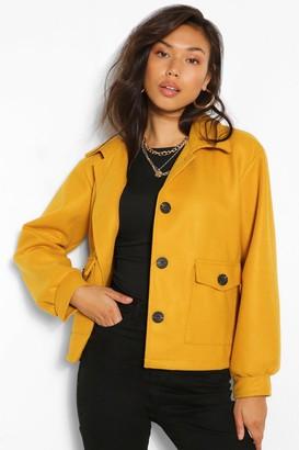 boohoo Cropped Wool Look jacket
