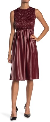 Velvet Torch Smocked Faux Leather Midi Dress