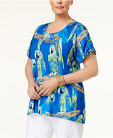 Alfred Dunner Plus Size Corsica Collection Embellished Parrot-Print Top