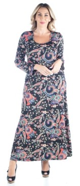 24seven Comfort Apparel Women's Plus Size Paisley Print Maxi Dress