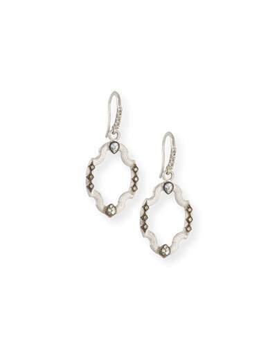 Armenta New World Open Shield Earrings with Diamonds & White Sapphires