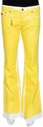 Roberto Cavalli Yellow Denim Painted Effect Flared Jeans L