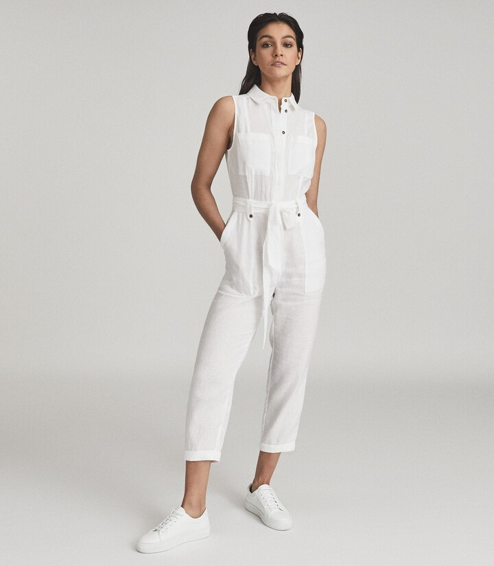 Thumbnail for your product : Reiss Darcey - Linen Jumpsuit in White