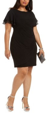 Jessica Howard Plus Size Flutter-Sleeve Side-Ruched Dress