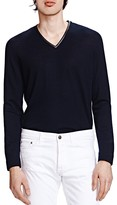 The Kooples Merino and Leather V-Neck Sweater