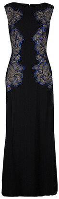 Tadashi Shoji Black Lace Applique Side Panel Detail Embellished Sleeveless Gown M