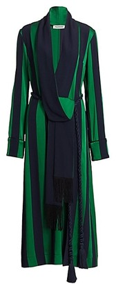 Monse Striped Robe Midi Dress