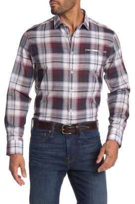 Good Man Brand Long Sleeve Point Collar Malibu Plaid Trim Fit Shirt