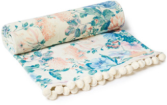 Zimmermann Pompom-trimmed Printed Cotton-terry Beach Towel