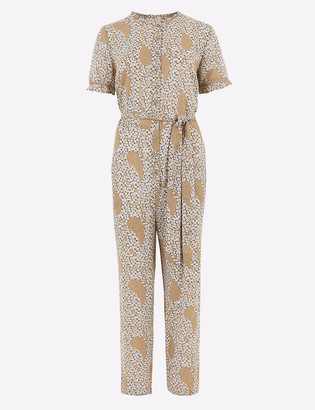 Marks and Spencer Cotton Floral Frill Detail Belted Jumpsuit