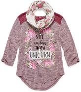 Arizona Az 3/4 Sleeve Envelope Back Top W/ Scarf - Girls' 7-16 & Plus