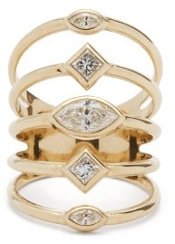 Zoë Chicco Multi-band Diamond & 14kt Gold Ring - Gold