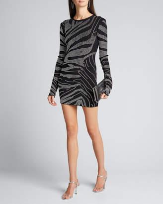 David Koma Rhinestoned Crepe Mini Dress
