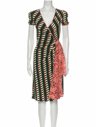 Issa Silk Knee-Length Dress Green