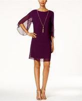 MSK Split Angel-Sleeve Necklace Dress