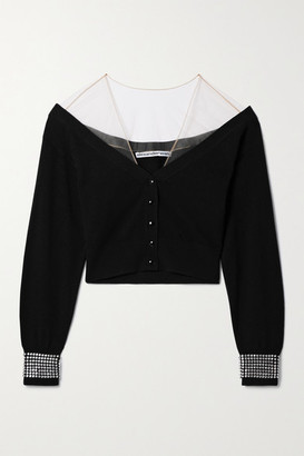 Alexander Wang Cropped Crystal-embellished Tulle-trimmed Wool-blend Cardigan - Black