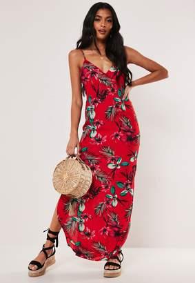Missguided Red Floral Split Hem Maxi Dress