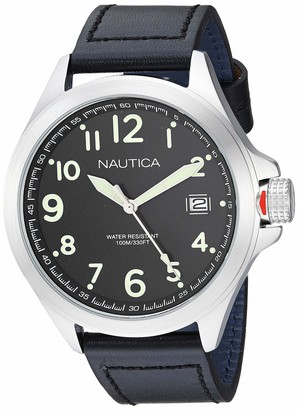 Nautica Men's Glen Park Stainless Steel Japanese-Quartz Leather Strap
