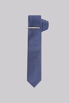 DKNY Petrol Textured Skinny Tie With Tie Pin