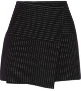 Alice + Olivia Lennon Striped Wool And Cotton-Blend Mini Skirt