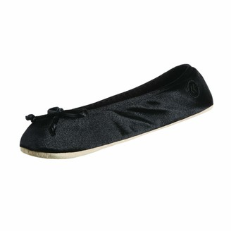 Isotoner Women's Satin Ballerina Slipper with Bow Suede Sole