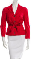 RED Valentino Belted Notch-Lapel Jacket