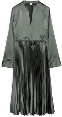 Arket Pleated Satin Dress