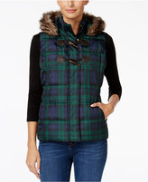 Charter Club Petite Faux-Fur Trim Plaid Puffer, Only at Macy's