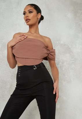 Missguided Beige Bardot Extreme Ruched Crop Top