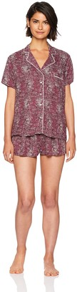 Splendid Women's Button Sleeve Top and Short Classic Pajama Set Pj