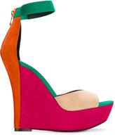 Balmain Zia wedge sandals - women - Leather/Goat Suede - 37