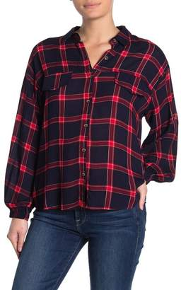 Lush Button Front Long Sleeve Plaid Flannel