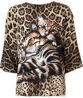 Dolce & Gabbana kitten print blouse - women - Silk - 40