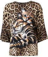 Dolce & Gabbana kitten print blouse