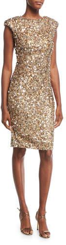 Rachel Gilbert Sequined Cap-Sleeve Cocktail Dress