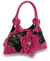 Zeckos Forest Camouflage Carpet Bag Purse Studded / Rhinestone Flower