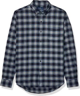 Buttoned Down Slim Fit Supima Cotton Plaid Flannel Sport Shirt Button