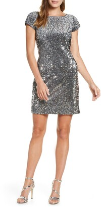 Eliza J Sequin Velvet Sheath Dress