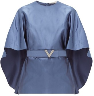 Valentino Belted Cape-sleeve Silk-satin Top - Blue