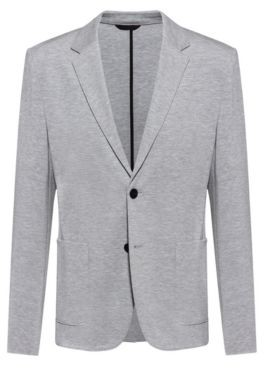 HUGO BOSS Extra Slim Fit Jacket In Stretch Jersey - Light Grey