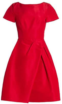 Carolina Herrera Icon Draped Bateau-Neck Silk Dress