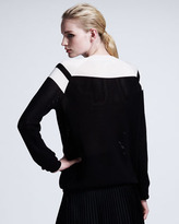 Stella McCartney Chevron Mesh Sweater, Black/White