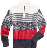 Tommy Hilfiger Striped Quarter-Zip Cotton Sweater, Little Boys