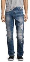 True Religion Geno Simple Moto Slim-Straight Jeans, Blue