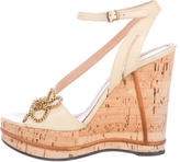 Chloé Floral Cork Wedge Sandals
