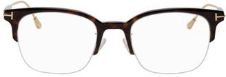 Tom Ford Tortoiseshell and Gold Semi-Rimless Glasses