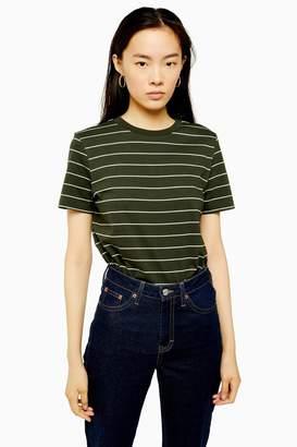 Selected Womens **Khaki Stripe T-Shirt By Khaki