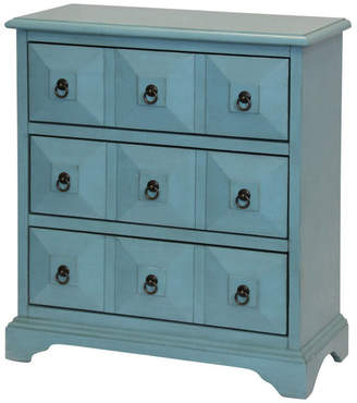 Stylecraft Home Collection Staten Island 3-Drawer Wood Chest, Slate Blue Finish