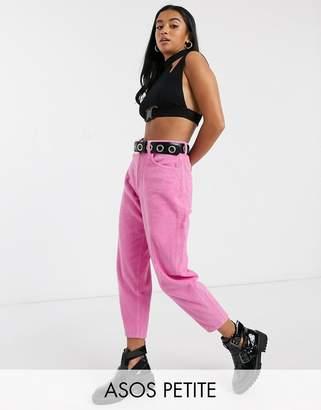 Asos DESIGN Petite balloon leg boyfriend jean in pink jumbo cord