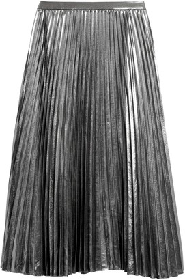 Banana Republic Petite Metallic Pleated Midi Skirt